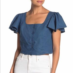 Band of Gypsies Vancouver flutter sleeve crop top